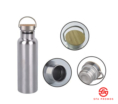 20oz Bamboo Top, Stainless Steel Water Bottle
